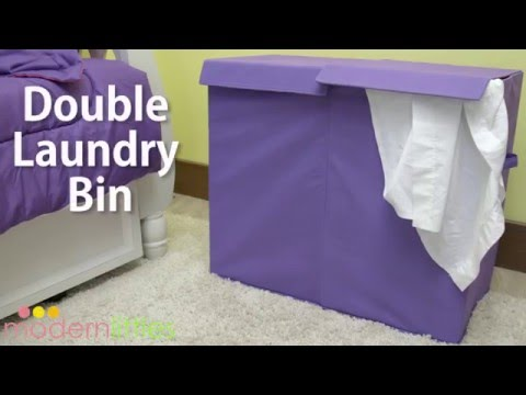 Modern Littles Color Pop Folding Double Laundry Basket
