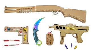 Cardboard Weapon Handmade - Rubber Pistol, Knife, PUBG Gun