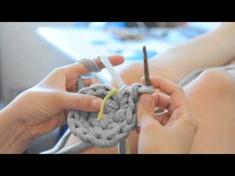 DIY Schale/Korb stricken und häkeln mit Zpagetti Teil 1 - YouTube