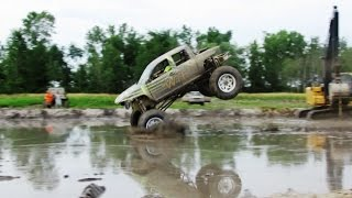 WTF Truck Dam Jump Competition At Country Compound Mud Bog