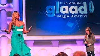 Laverne Cox receives the Stephen F. Kolzak Award at #GLAADAWARDS
