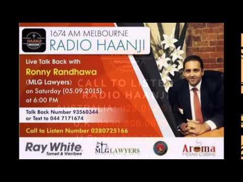 Live Talk Back session with Ronny Randhawa (MLG Lawyers) - Radio Haanji 1674AM