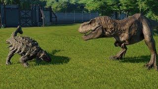 Ankylosaurus(Fully Modified) VS T-Rex, I-Rex, I-Raptor, Spinosaurus and Allosaurus - JWE