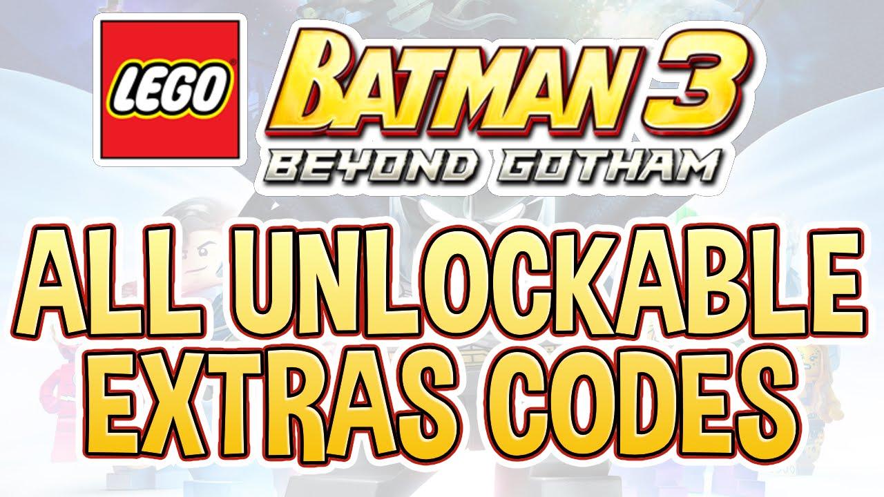 LEGO Batman 3 - All Unlockable Extras Codes