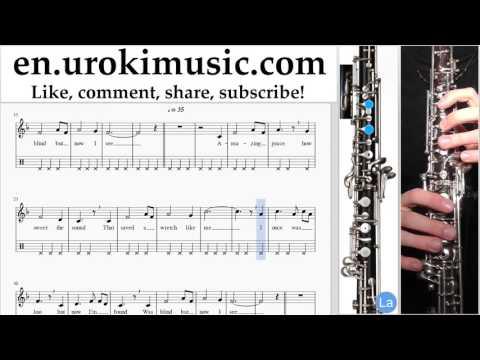 Oboe lessons Amazing - Grace Sheet Music Tutorial Part#2 um-b352