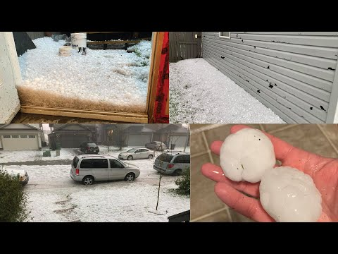 Tennis Ball Hail - EPIC SCARY hailstorm - Calgary June 13 2020 - Breached window pane and aftermath