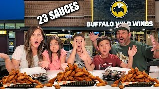 OUR BUFFALO WILD WINGS CHICKEN WING CHALLENGE | Trying ALL of the wings and sauces | PHILLIPS FamBam Video