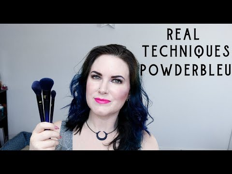Real Techniques PowderBleu Brushes B04 Shadow, B03 Complexion & B02 Finishing Brush Demo + Review