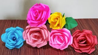 How To Make Paper Flower Bouquet With Paper Rose   DIY Easy Paper Rose   Simple Paper Craft