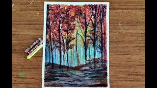 How to Paint Autumn Forest Trees with Oil Pastels |  Easy Painting for Beginners