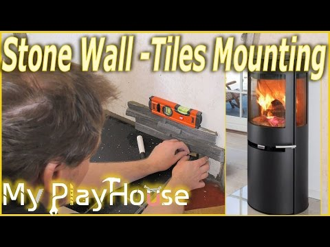 First stone wall tiles mounted - The Wood Stove Project - 358