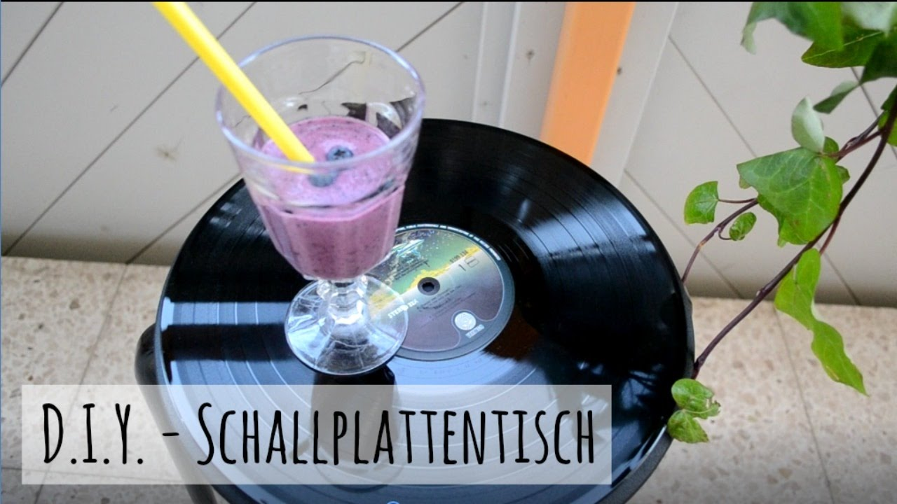 diy schallplatten upcycling tisch im retrostil youtube. Black Bedroom Furniture Sets. Home Design Ideas