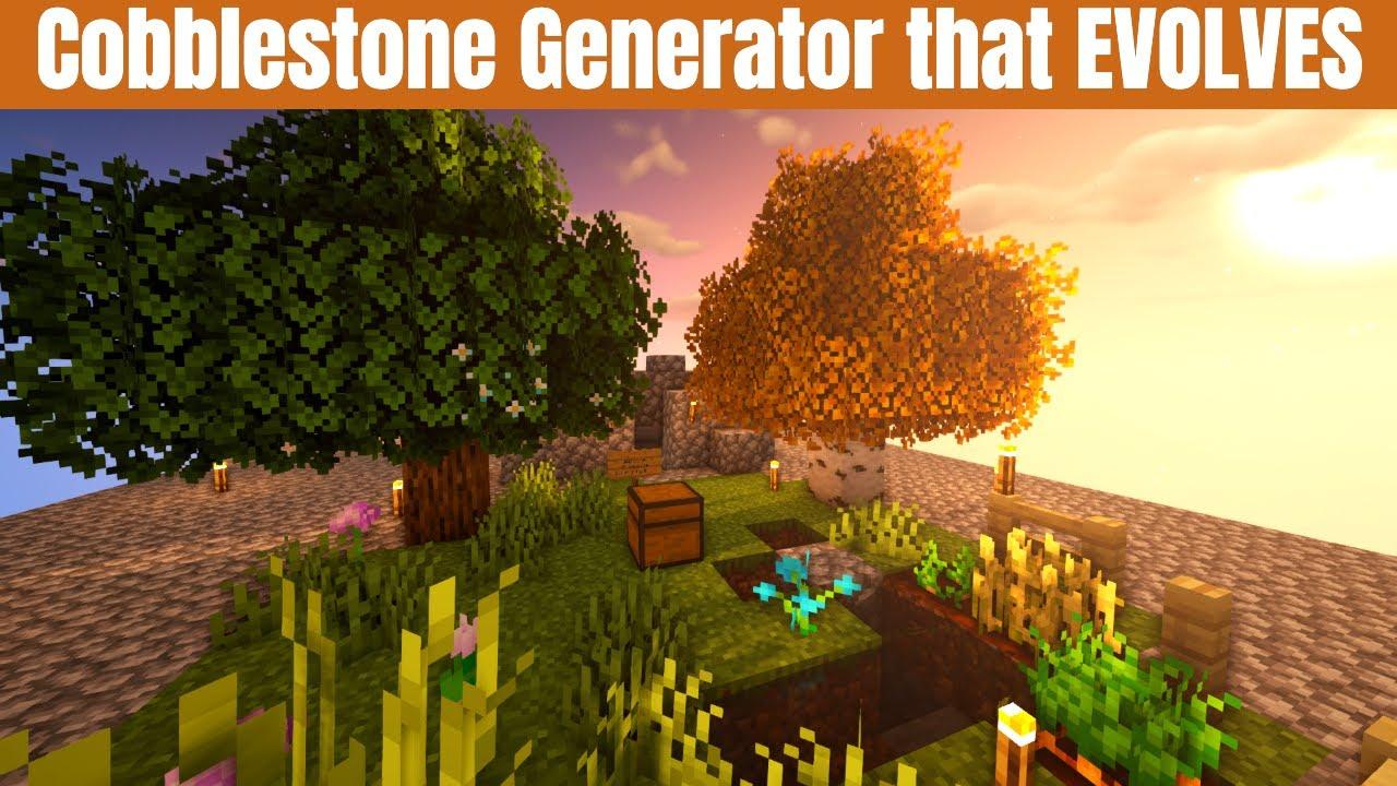 Minecraft Survival Cobblestone generator you can EVOLVE | Perfect for Minecraft Skyblock