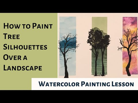 How to Paint Tree Silhouettes Over a Watercolor Landscape | Painting Lesson | Art Tutorial