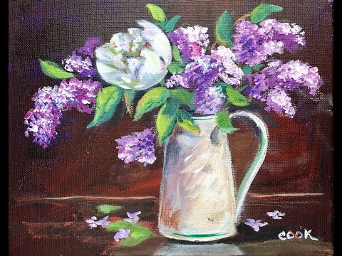 How to Paint Lilacs in Vase by Ginger Cook Beginners Acrylic Painting Tutorial