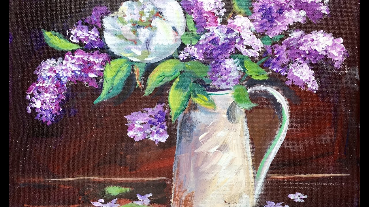 34fa81e2a487 How to Paint Lilacs in Vase by Ginger Cook Beginners Acrylic Painting  Tutorial