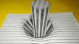 3D Lineing Paper Stick in the Hole step by step pencil shades