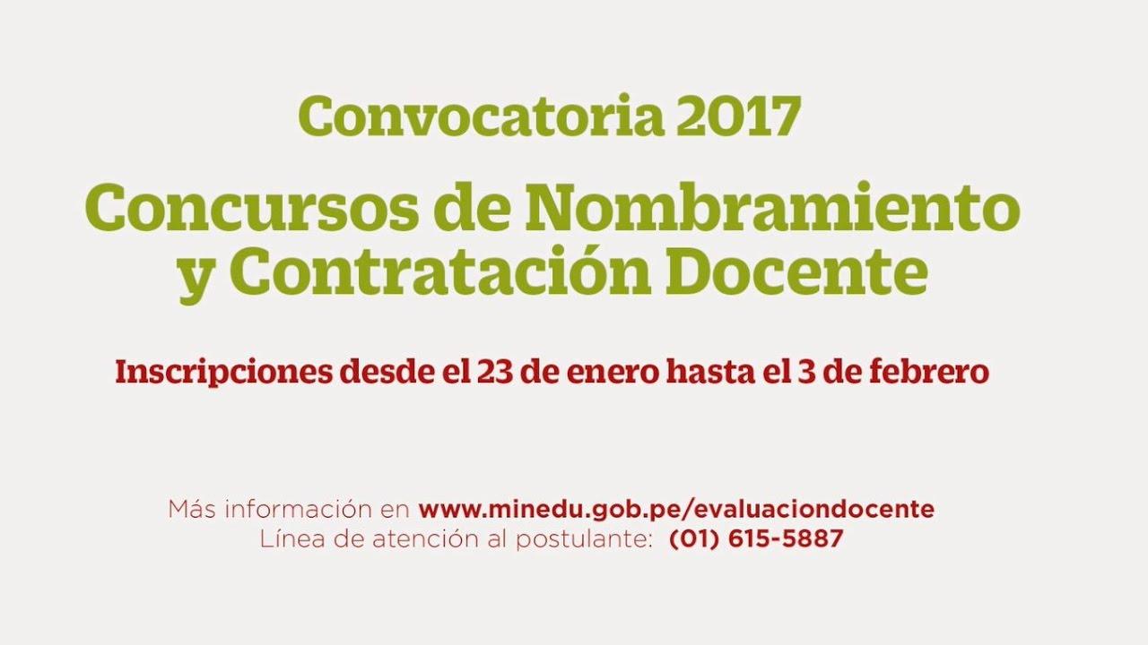 Convocatoria 2017 concursos de nombramiento y for Convocatoria concurso de docentes 2016