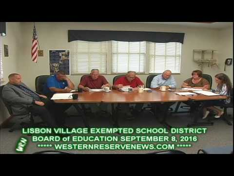 LISBON OHIO COLUMBIANA COUNTY BOARD OF EDUCATION MEETING SEPTEMBER 8, 2016