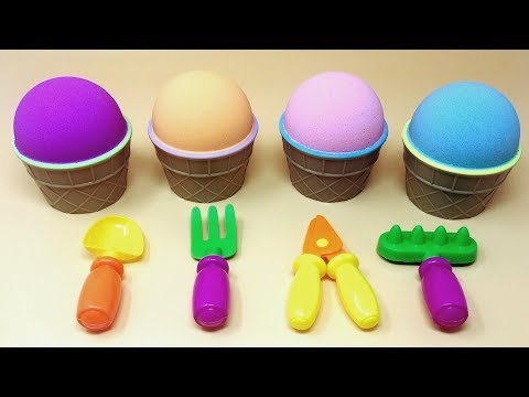 Kinetic Sand Ice Cream Cups & Tools Toys Surprise Eggs Inside Learn Colors with Paw Patrol Toys