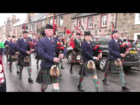 2017 Bankfoot Gala parade led by Perth & district Pipe Band in highland Perthshire, Scotland