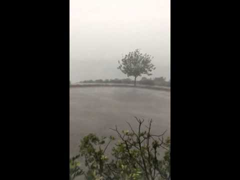 TORNADO  WARNING SAN DIEGO Microburst? storm  slams into office bldg @ 2min mark