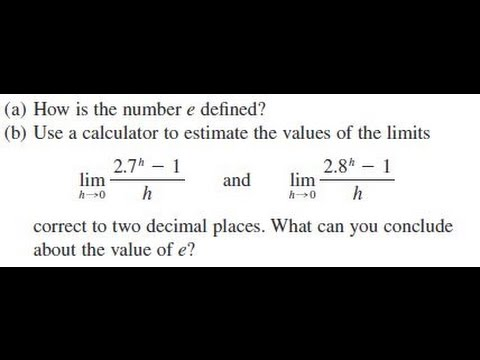 How Is The Number E Defined Using 2 7 H 1