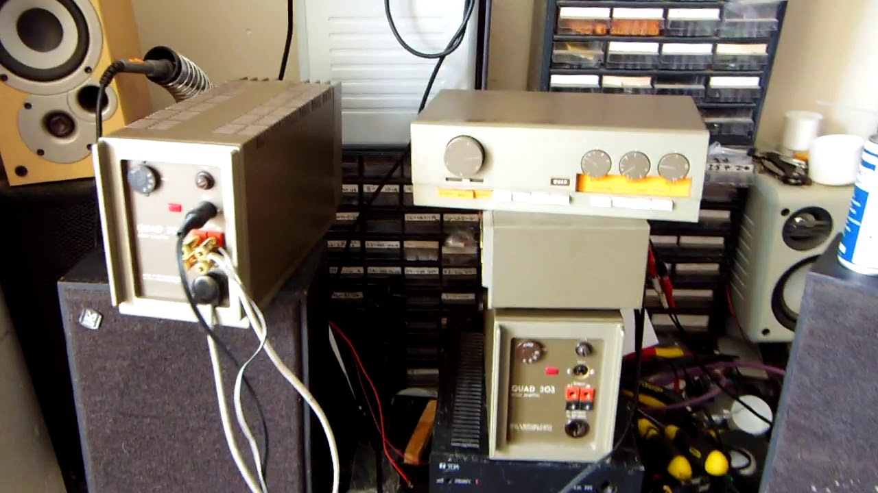 Quad 303 power amplifier with preamp and Mordaunt Short Carnival speakers