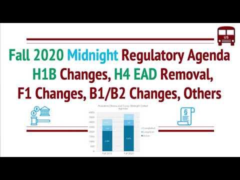 Fall 2020 Midnight Regulatory Agenda - H1B Visa, H4 EAD Removal, F1, GC, B1, Others
