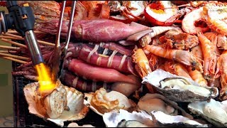 Japanese Street Food - Oysters, Wagyu Beef, Lobster, Scallops - Tsukiji Fish Market