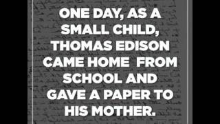 Thomas Edison's letter from school teacher to his mother.