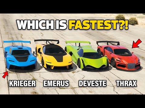 GTA 5 ONLINE : KRIEGER VS DEVESTE EIGHT VS EMERUS VS THRAX (WHICH IS FASTEST?)