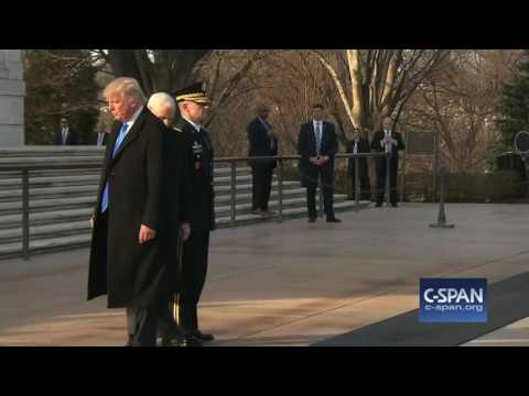 Donald Trump and Mike Pence at Arlington National Cemetery (C-SPAN)