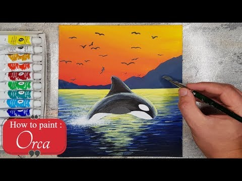 How to paint a Killer Whale | Orca Acrylic Painting Tutorial⭐ thumbnail