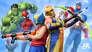 Super Hero Mix Up Challenge with Spider-Man, Wolverine & Avengers by KIDCITY