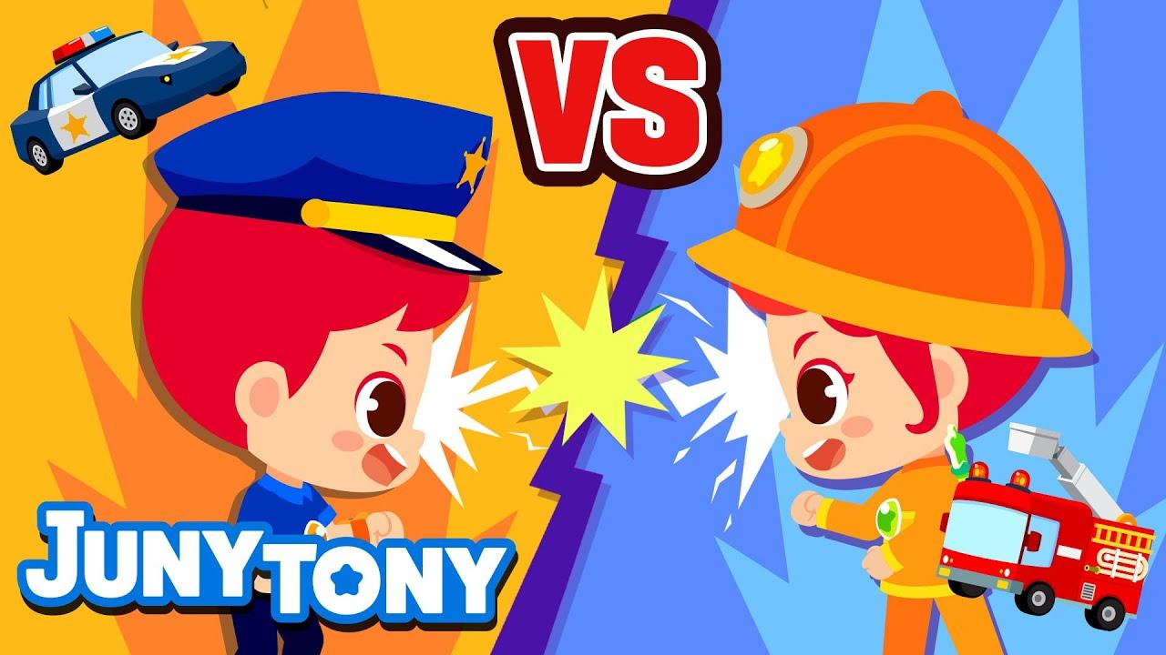 👮Police Officer vs. Firefighter👩🚒🧯| The Best Heroes | VS Series | Job Songs for Kids | JunyTony