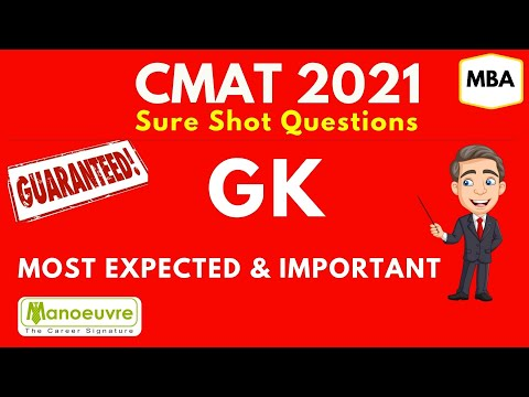 CMAT 2021 General Awareness - GK Sure Shot Questions : - Most Expected & Important - Must Watch