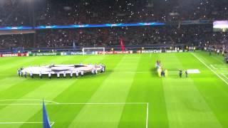 Entrée des joueurs PSG- Barcelone 30 septembre 2014