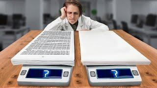 Сколько весят 100 листов бумаги с текстом и без текста