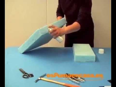 Pegar dos piezas de espuma con pegamento en spray  YouTube
