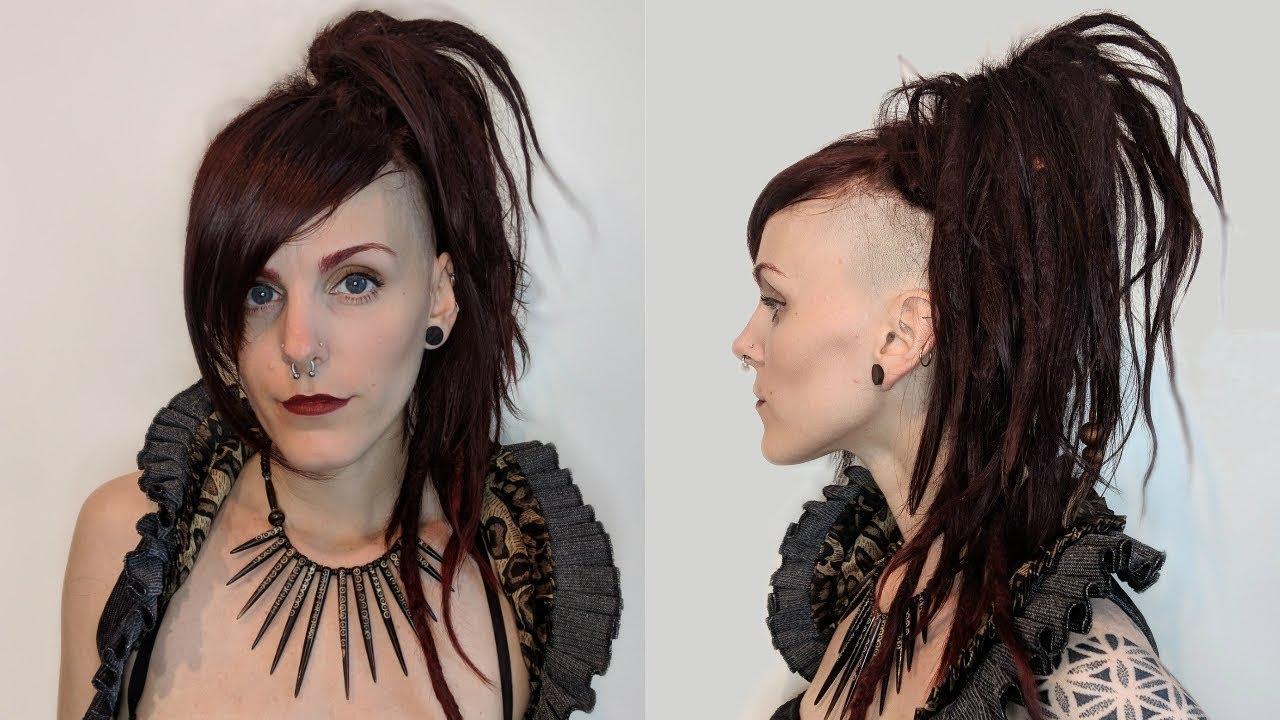 Steampunk Hairstyle Tutorial An Undercut Steampunk High Ponytail