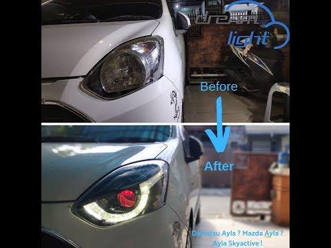 FULL REVIEW !! Agya Ayla Headlamp Facelift Custom Model Mazda Skyactive