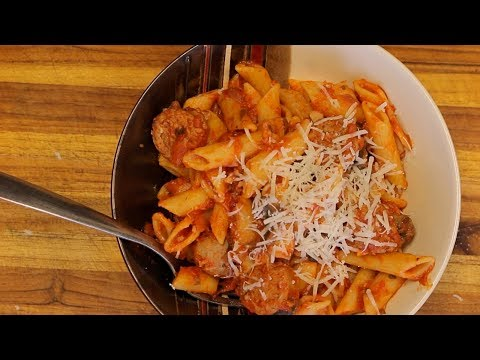 Organic Pasta and Turkey Sausage - red sauce pasta - italian recipes - healthy recipe
