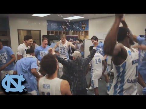 UNC To The Final 4:Locker Room Celebration After Win vs. Kentucky