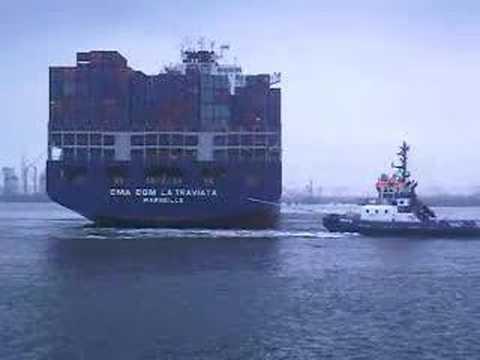 Container schip CMA CGM LA TRAVIATA (ULCS) @ ect delta terminal ...
