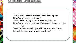 Atom TechSoft 7z password recovery software