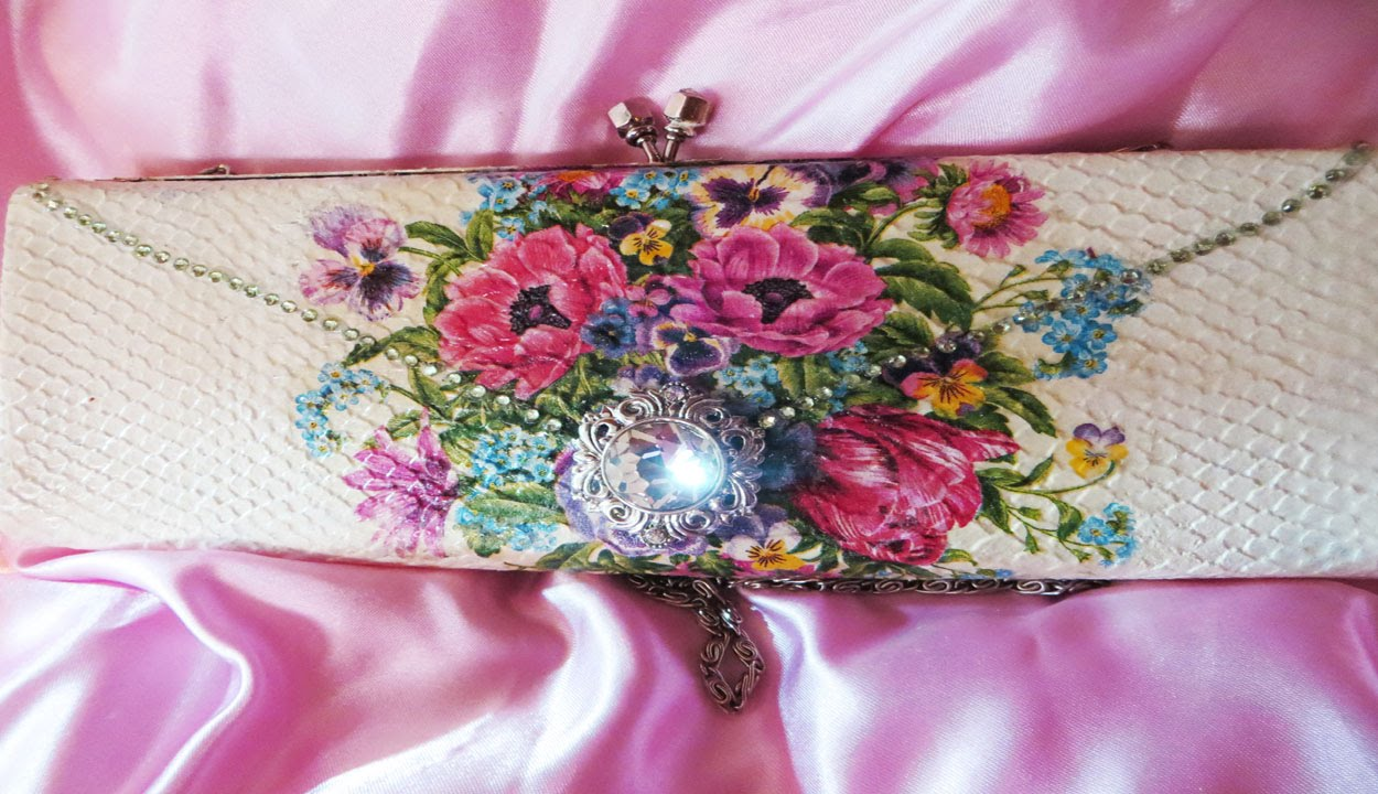 How To Decoupage a Clutch Purse Upcycled Bling!