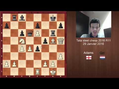 Tata Steel échecs R11 Michael Adams vintage contre Anish Giri