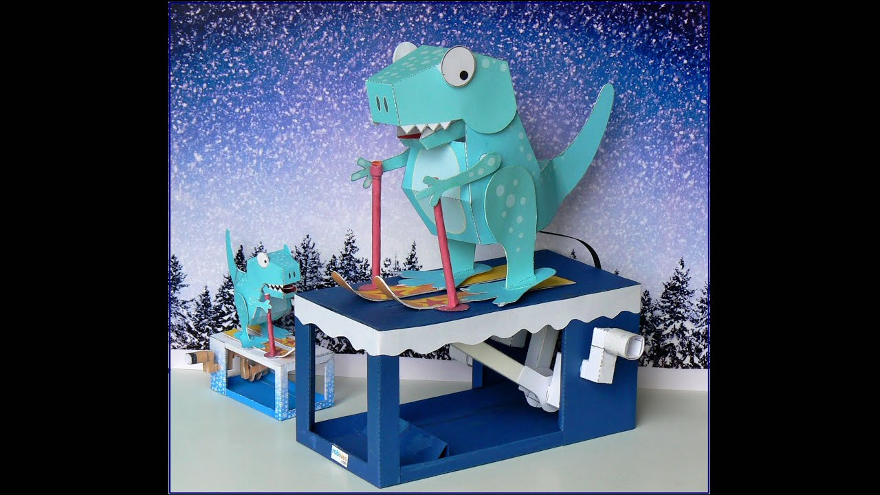 Papercraft Ski-Rex, movable paper model