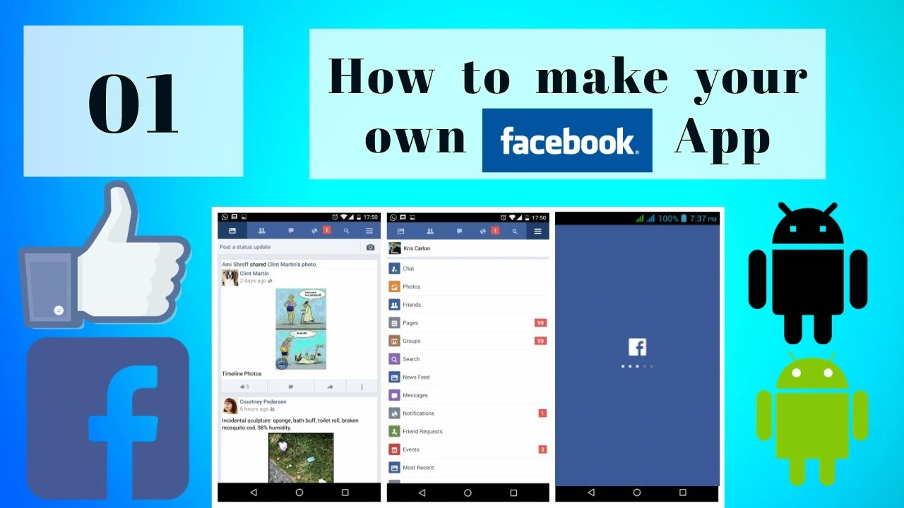 Android Studio Tutorial Make Your Own Android Facebook App 01 Youtube